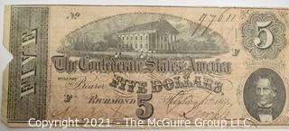 1864 Five (5) Dollar Confederate Note; numbered and signed.