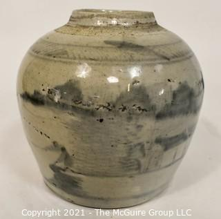 """Antique Stoneware Crock or Ginger Jar with Blue Asian Hand Painted Decoration.  Measures 6"""" tall."""