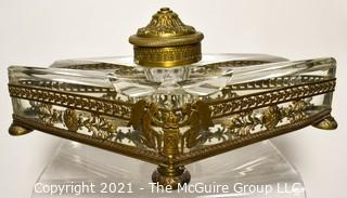 """French Revival Crystal Inkwell in Brass Stand with Cherubs. Measures 9"""" Long."""