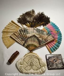 Collection of Vintage Ladies Items.  Includes Hand Fans Including Ostrich Feathers And Japanese Paper Cut Out Decoration and Beaded Handbag.