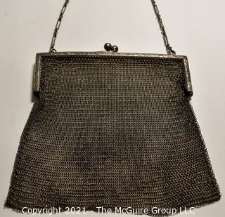 """Victorian Sterling Silver Chain Mesh Hand Bag or Coin Purse.  Measures 4"""" x 5"""""""