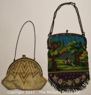 Two (2) Victorian Hand Made Micro Beaded Hand Bags. One with Park Scene.