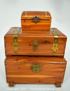 Three (3) Wood Cedar with Brass Trim Trinket Boxes