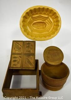 Vintage Primitive Wooden and Ceramic Butter Molds