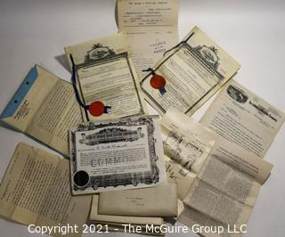 Collection of paperwork relating to the granting of a patent in 1912 for railroad signal-lanterns