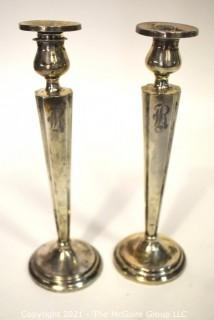 """Pair of Weighted Sterling Silver Candlesticks; Engraved; 10"""" tall."""