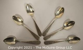 Set of (6) Kahn Bros Sterling Silver Sugar Spoons; 112g.
