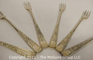 Set of Six (6) Art Deco Style Silver Plated Pickle Forks.