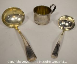 Three (3) Sterling Silver Items Including Baby Cup; 120g.