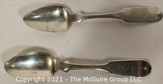 Two (2) Coin Silver Unmarked Flatware Spoons; 40g