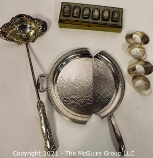 Vintage Sterling Silver and Silver Plate Items.  Includes Sterling Silver Salt & Pepper Shakers in Box, Punch Ladel with Weighted Sterling Silver Handle and Silver Plated Crumb Catcher