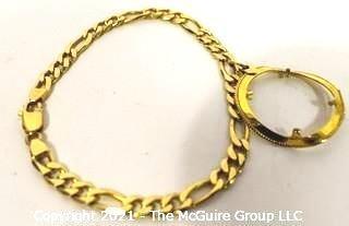 14kt Gold Stamped Flat Link Bracelet with Damaged Pendant Bezel Frame; 15g