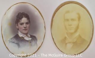 Two (2) Antique Miniature Portraits; Woman Painted on Porcelain.