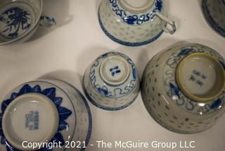 Vintage Set of Traditional Blue and White Rice Pattern Fine Porcelain China.  Various Makers or Chop Marks (TMG re-numbered)