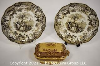 """Two (2) Antique Old Davenport """"Scotts Illustrations"""" Waverly Brown & White Transferware Porcelain Plates and Transferware Casserole"""