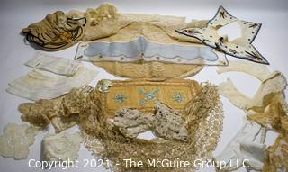 Collection of Victorian Antique Lace and Hand Embroidered Collars, Cuffs and Trims.