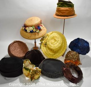 Collection of Vintage Hats Including Straw with Flowers, Cloches, Velvet and Fur Trimmed.