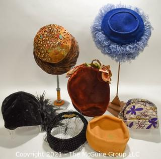 Collection of Vintage Hats Including Feather Trim and Velvet