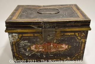 """Hand Stenciled Tin Bread Box.  Measures 13"""" x 9"""" x 9"""" (TMG re-numbered)"""
