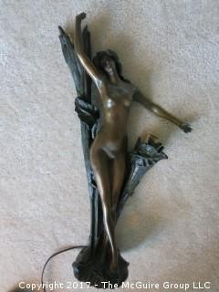 "Bronze Art Deco Lamp; circa 1920's; Marina Paris (19 1/2""T; resting on metal tripod stand (48""T)"