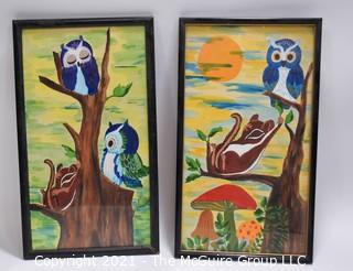 """Pai of Framed Original Art with Whimsical Owls and Squirrels.  Measures 12"""" Tall."""