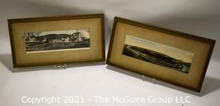 Two (2) Framed Under Glass Antique Panorama Real Photo Postcards of Berkeley Springs, WV