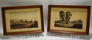 Two (2) Framed Under Glass Color Lithographs.