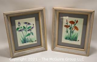 Pair of Framed Underglass Watercolor Paintings of Flowers Signed by Artist 1989