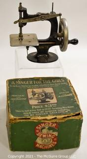 """Vintage """"A Singer For The Girls"""" Hand Crank Sewing Machine in Original Box."""