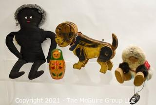 Group of Vintage Toys Including Black Americana Hand Made Rag Doll
