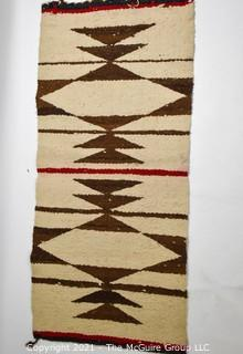 """Antique Native American Navajo or Hopi Nation Wool Hand Woven Throw Rug.  Measures 35"""" x 16"""" (TMG re-numbered)"""