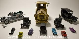 Group of Vintage Metal Toy Cars.  Includes Tootsie Toy.