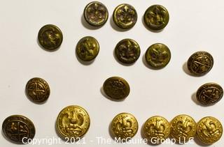 Collection of Vintage Brass Buttons from Boys Scout Uniform and Other Fraternal Orders.