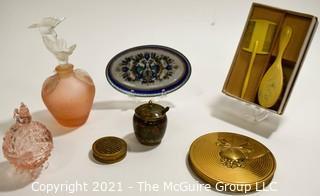 Vintage Vanity Table Items Including Perfume Bottles, Celluloid Brush Set, Powder Compact & Trinket Dish