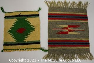 (2) Small Flat Hand Woven Decorative Table Squares.