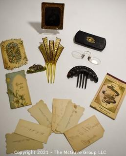 Group of Antique Victorian Vanity Drawer Items.  Includes Daguerreotype Photo of Young Boy, Calling Cards, Hair Combs, Spectacles Eye Glasses and Easter Greeting Cards.
