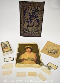Antique Victorian Grouping. Including Large Cigarette or Tobacco Silk, Asian Tapestry, Baby Rattle, Calling Cards, & Photograph.  Split in cigarette silk.