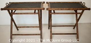 Two (2) Asian Style Rattan TV Trays or Tables.