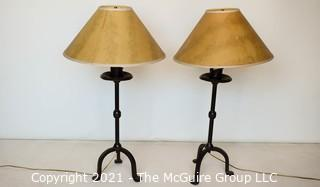 Two (2) Comtemporary Matching Wrought Iron Table Lamps with Shades.
