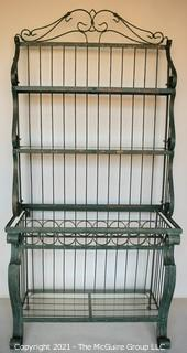 """Wrought Iron with Green Faux Patina Garden Bakers Rack with Bottle Holder.  Missing top piece of glass.  Measures 30"""" x 17"""" x 38""""."""