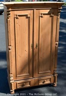 """Antique Circa 1850 Hand Carved Pine Two Door Armoir with Key Lock.  Measures 39"""" x 23"""" x 70"""". Additional Info added 8.12.21@2""""40pm ET {Inside width is 36""""}"""
