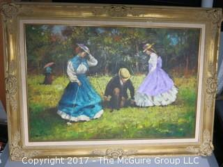 Framed Victorian Courting Scene; canvas; signed lower left; 31 x 44""