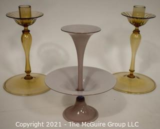 Three Hand Blown Glass Tiered Candlesticks.