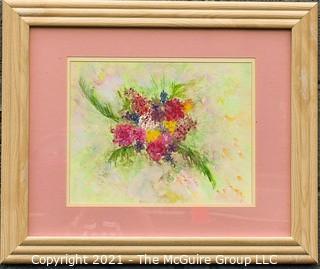 "Framed Under Glass Original Artwork of Flowers.  Measures 19"" x 23""."