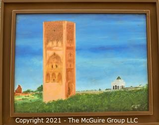 """Framed Oil on Canvas Painting Signed by Artist in Suede Presentation Box. Measures 15"""" x 19""""."""