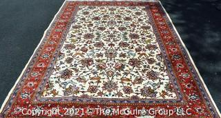 """Hand Woven Persian Wool Rug with Botanical Design on White Ground with Red Border.  Measures 87"""" x 120"""""""