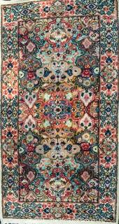 """Hand Woven Persian Rug on White Ground. Measures approximately 26"""" x 49""""."""