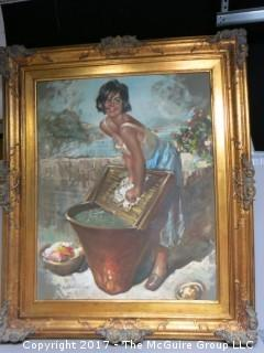 """Woman washing clothes; framed, signed lower left, on canvas; 33 x 39"""""""