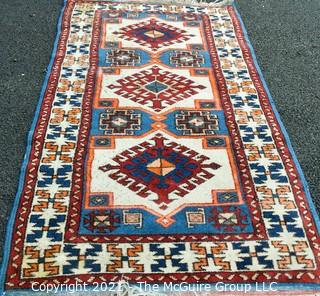 """Hand Woven Persian Rug with Geometric Pattern. Measures approximately 26"""" x 49""""."""