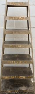 """Vintage Industrial Dan-Dee Strong and Security Box Display Shelf made by Erie Art Metal Co. PA.  Measures 5' 3"""" Tall."""